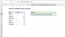 Excel formula: Get full workbook name and path
