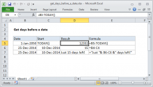Excel formula: Get days before a date