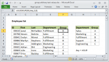 Excel formula: Group arbitrary text values