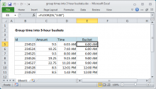 Excel formula: Group times into 3 hour buckets