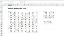 Excel formula: Highlight many matching values