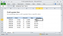 Excel formula: If cell is greater than