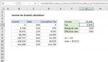 Excel formula: Income tax bracket calculation