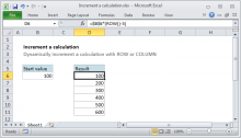 Excel formula: Increment a calculation with ROW or COLUMN