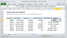 Excel formula: Invoice status with nested if