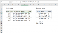 Excel formula: Join tables with INDEX and MATCH