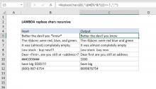 Excel formula: LAMBDA replace characters recursive