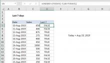 Excel formula: Last n days