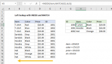 Excel formula: Left lookup with INDEX and MATCH