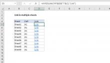 Excel formula: Link to multiple sheets