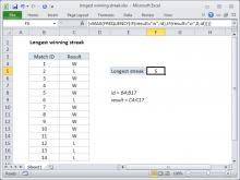 Excel formula: Longest winning streak