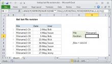 Excel formula: Lookup last file revision