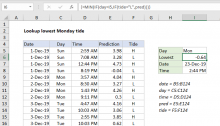 Excel formula: Lookup lowest Monday tide