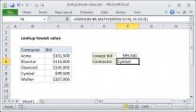 Excel formula: Lookup lowest value