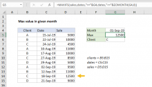 Excel formula: Max value in given month