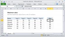 Excel formula: Maximum value
