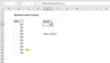 Excel formula: Minimum value if unique