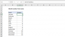 Excel formula: Month number from name