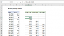 Excel formula: Moving average formula