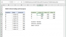 Excel formula: Multi-criteria lookup and transpose