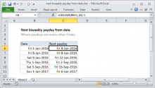 Excel formula: Next biweekly payday from date