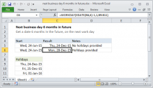 Excel formula: Next business day 6 months in future