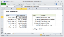 Excel formula: Next working day