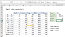 Excel formula: Nightly hotel rate calculation