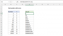 Excel formula: Pad a number with zeros