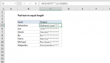 Excel formula: Pad text to equal length