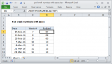 Excel formula: Pad week numbers with zeros