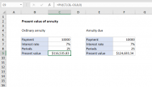Excel formula: Present value of annuity