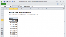 Excel formula: Random times at specific intervals