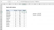 Excel formula: Rank if formula