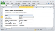 Excel formula: Remove text by variable position