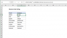 Excel formula: Reverse text string