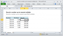 Excel formula: Round a number up to nearest multiple