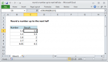 Excel formula: Round a number up to next half