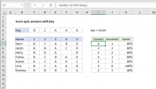 Excel formula: Score quiz answers with key