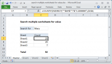 Excel formula: Search multiple worksheets for value