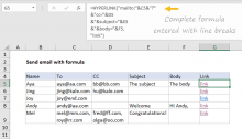 Excel formula: Send email with formula