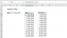 Excel formula: Sequence of days
