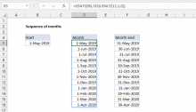 Excel formula: Sequence of months