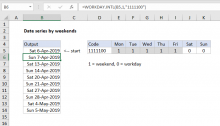 Excel formula: Series of dates by weekends