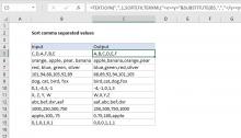 Excel formula: Sort comma separated values