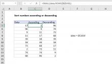 Excel formula: Basic numeric sort formula | Exceljet