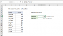 Excel formula: Standard deviation calculation