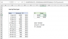 Excel formula: Sum by fiscal year
