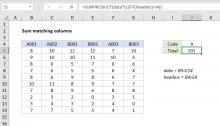 Excel formula: Sum matching columns