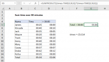 Excel formula: Sum time over 30 minutes